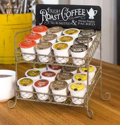 """8½""""W x 6""""D x 11¾""""T. This vintage-inspired caddy is designed to hold your  K-Cups, and would also be useful for cups of creamer, tea bags, and other  small items in your kitchen. Sit this next to your Keurig or coffee maker  in any kitchen."""