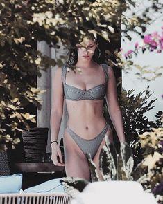 Nature. Bella Hadid. Bikini. Trees. Tropical.
