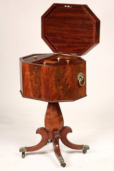 AMERICAN TEAPOY - Empire Period Octagonal Cabinet - by Thomaston Place Auction Galleries