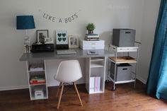 DIY bookshelf Ikea hack desk!
