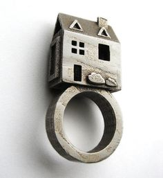 Doll House Ring - Stainless Steel Jewelry - Pre Colonial House - inspired by Jewish Wedding Rings - Statement ring. $72.00, via Etsy.