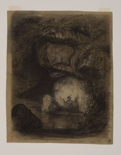 Man Fishing in the Woods: 1854 by John La Farge - Charcoal and pencil heightened with white chalk on grey paper,- Viewed as part of the Exhibit: Fun and Games: The Pursuit of Leisure (Toledo Museum of Art, Toledo, OH) (August, 2014)