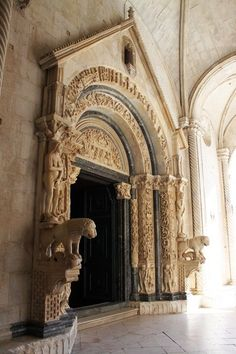 Trogir, Croatia, Cathedral of St Lawrence beautiful carved stone entry