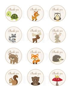 "Woodland Friends Forest Animals Theme Baby Shower Thank Tags 2"" - Printable File"