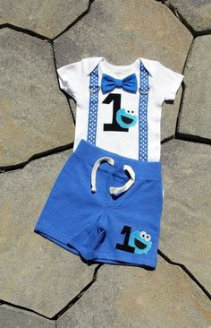 Cookie Monster Baby Boy Bow Tie Bodysuit with Suspenders and shorts set - Birthday, Photo Prop, First Birthday, Sesame Street, Birthday Monster 1st Birthdays, Monster Birthday Parties, Elmo Birthday, First Birthdays, Baby First Birthday Themes, Baby Boy Birthday, Birthday Photos, Birthday Ideas, Birthday Crafts
