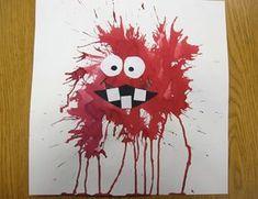 Tinta soplada                                                                                                                                                      Más Bricolage Halloween, Halloween Crafts, Art Games For Kids, Arte Elemental, Kindergarten Art Projects, Art Lessons Elementary, Diy Arts And Crafts, Art Club, Painting For Kids
