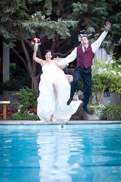 Teena and Wayne June 2012. First couple ever to jump in the pool.