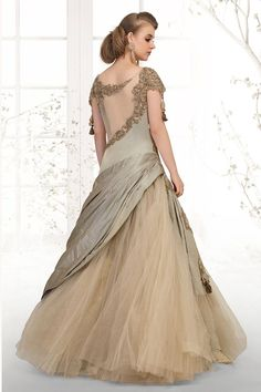 Picture of Splendid olive green designer long gown Indian Wedding Gowns, Indian Gowns Dresses, Pakistani Bridal Wear, Bridal Dresses, Formal Dresses, Wedding Dress, Designer Party Wear Dresses, Indian Designer Outfits, Designer Wear