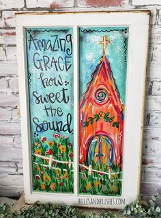 Door hangers, wooden signs, whimsical canvas paintings , signs and home decor for all seasons and occassions. Painted Window Art, Painted Window Screens, Window Pane Art, Hand Painted, Old Window Projects, Art Projects, Learn To Paint, Painting Inspiration, Diy Art