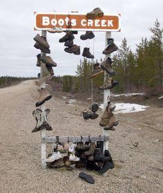Boots Creek sign near Gillam, Manitoba.