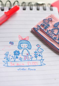 Hand-carved rubber stamp, girl  ||| DIY, planner, stationery, cool for solstices and equinoxes