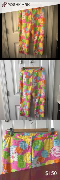 Super Cute Lilly Pulitzer Capris Planning your Spring Break travel? These adorable Lilly Pulitzer capris are perfect for spring and summer wear. Vintage white label. Crisp cotton (with a little stretch) in a bright Chinese lantern pattern. Size 6. Lilly Pulitzer Pants Capris