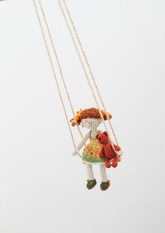 Crochet doll on swings miniature crochet art doll by FancyKnittles