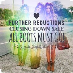 I have reduced stock even further. So get in fast to grab a bargain before I close for good. Thanks so much everyone who is purchasing my boots. Sadly I am closing down my online store.  As many of you know I started this journey due to being a passionate vegetarian for the last 25 years. I had a love of both Western and Bohemian style boots which I began importing from the U.S. I may still do the odd market here and there to clear stock but for now I'm closing down my online side of things…