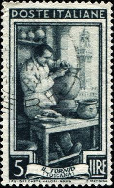 ITALY - CIRCA 1950: A stamp printed in Italy, shows Potter, in the background of Piazza della Signoria, Florence, (Tuscany), circa 1950 #TuscanyAgriturismoGiratola