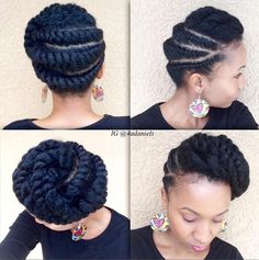Stunning Flat Twist Protective Style Looking for a way to wear your hair but without needing to rely on cornrows? You need to check out these gorgeous flat twist hairstyles! Natural Hair Twist Out, Natural Hair Updo, Natural Hair Styles, Flat Twist Hairstyles, Girl Hairstyles, Braided Hairstyles, Black Hairstyles, Weekend Hairstyles, Beautiful Hairstyles