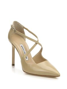 Manolo Blahnik Umice Leather  Crisscross Pumps