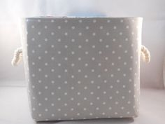 Gray and White Polka Dot Fabric Basket With Gardening Fabric Inside For Storage Or Gift Giving