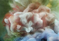 """""""Kim Keever, based in New York City, creates his colorful and soulful works of art by dropping paint into water, then """"watching the process evolve while taking photos,"""" he tells us."""""""