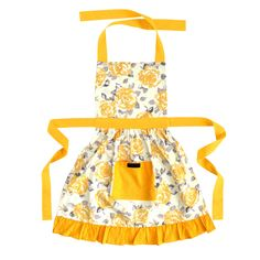Betty yellow Frilly Apron with Gold and Cream Roses, vintage retro style ladies frilly apron in a summer gold rose print with gold trim on the frill and ties. Aprons Vintage, Retro Vintage, Vintage Style, Apron Pattern Free, Mickey Mouse, Vintage Laundry, Tablecloth Fabric, Apron Pockets, Classic Style Women