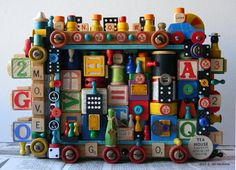 Recycled Art - MOVE - 3D Assemblage - Mixed Media - Found Object Art by Jen Hardwick