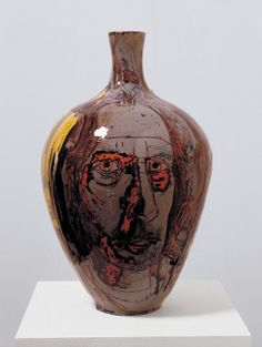 Potter Artist Grayson Perry (British: 1960) - Self Portrait with Eyes Poked Out, 2004 - glazed ceramic, 55 x 34 cms