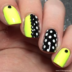 Neon green and black and white polka dots