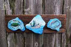 Makin a Livin-Hand painted Louisiana cypress knee cutaway rounds mounted on rustic wood base with Gulf Coast shrimp trawler and catch of the day. Cypress Knees, Tung Oil Finish, Shrimp Boat, Cutaway, Rustic Wood, Louisiana, Coast, Southern, Hand Painted