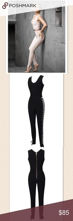 Misa Bandage Jumpsuit Runs true to size.    * Stretch Bandage * Strap Dress * Hugged waist * zipper/hook-and-eye closure * 9% nylon/ 1% spandex/ 90% Rayon  * Dry Clean Only   Model is 5'10 wearing a size small. Bae Sik Pants Jumpsuits & Rompers