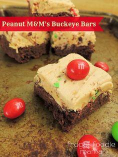 Peanut M&M's Buckeye Bars via thefrugalfoodiemama.com #BakingIdeas #shop #cbias