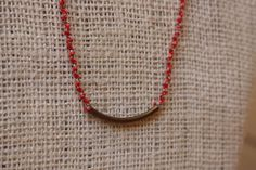 Karenni Necklace Coral and Grey with Bronze Tube by by hilltribers, $22.00