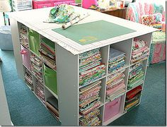 While browsing on Pinterest last week, I saw this fabulous cutting table by Georgia Peachez. (If you click on the picture, it will take you to her blog). Anyway, my sewing room has become a nurse...