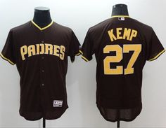 Padres  27 Matt Kemp Brown Flexbase Authentic Collection Stitched MLB Jersey 8d95084824c