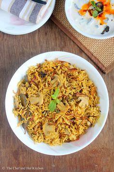 THE CHEF and HER KITCHEN: Mushroom Biryani Recipe | Mushroom Recipes