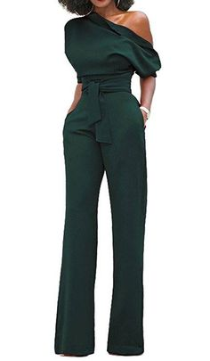 de4008a3bc6 Bigyonger Women s Sexy One Off Shoulder Jumpsuits Wide Leg Long Romper  Pants with Belt Please check your measurements to make sure the item fits  before ...