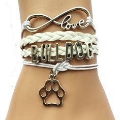Infinity Bulldog Bracelet - White