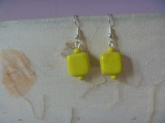 Earrings Handmade, Etsy Earrings, Dangle Earrings, Yellow Earrings, Silver Earrings, Poet, Vintage Jewelry, Dangles, Etsy Shop