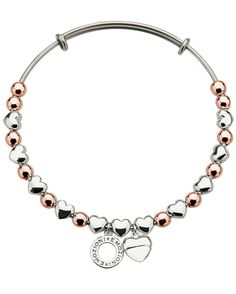 EMOZIONI ROSE GOLD & SILVER PLATED HEART BANGLE £49.95  Emozioni 60mm Rose Gold & Silver Plated Heart Bangle. #emozioni #jewellery