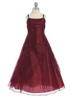 Burgundy Elegant A Line Organza Flower Girl Dress