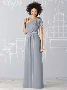 After Six Bridesmaid Dress 6622    Fabric: Lux Chiffon purchase swatch    One shoulder gown in lux has blouson bodice and matte satin inset at natural waist. Flutter sleeve at shoulder.    Sizes available 00-30W, and 00-30W extra length.  Dress Colors: viewing - platinum