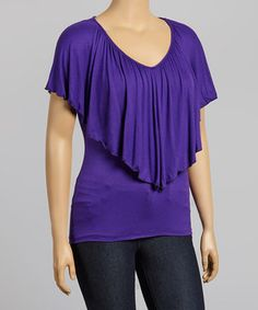 Loving this Purple Flounce V-Neck Top - Plus on #zulily! #zulilyfinds