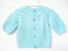 Hand Knit Sweater, Baby Girl Clothes, Baby Girl Sweater, Baby Girl Cardigan in Mint Green. Hand Knitted Sweaters, Baby Sweaters, Knitted Baby Outfits, Baby Girl Cardigans, Vintage Baby Clothes, Sweater Set, Baby Knitting, Girl Outfits, Mint Green