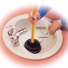 Good easy first steps to clear a drain before calling a plumber.  For some reason I never really thought about trying a plunger to clear a regular drain.