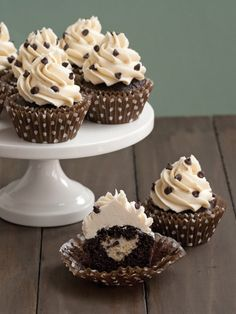 Cookie Dough-Stuffed Dark Chocolate Cupcakes from CookingChannelTV.com