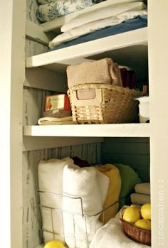 furnace closet turned linen closet before and afters « Momma Hen