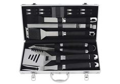 Best BBQ utensil sets and accessories in secure aluminium cases. Calibre steel tools with long handles, all BBQ equipment in case and reasonably priced. Bbq Equipment, Bbq Tool Set, Best Bbq, Utensil Set, Tool Steel, Tools, Accessories, Instruments, Jewelry Accessories