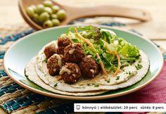 Sárgarépás falafelgolyók lepénykenyérrel Vinaigrette, Veggie Recipes, Bagel, Tacos, Mexican, Keto, Vegetables, Ethnic Recipes, Food