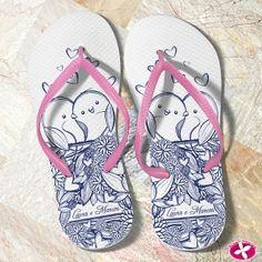 Chinelos Personalizados para Casamento - Modelo passarinhos. www.rosapittanga.com.br