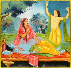 """SHRI KRISHNA CHAITANYA MAHAPRABHU  Radharani said to Shyamasundar: """"O Prananath! Wake up! I have had the most amazing dream. I dreamt I saw a fair youth with a body bright as gold. I have never seen anyone like Him. He was full of sweetest joy and bliss. His tender golden body was beautiful and tears flowed as he sang and danced in madness. Seeing His incomparable form, the home of all loveliness and radiance, my eyes were soothed and my heart was spellbound."""" — with krishna =)"""