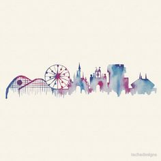 Disneyland California Watercolor Skyline Silhouette Illustration by tachadesigns - RedBubble